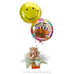 BIRTHDAY SUPPRISE Teddy with helium baloons AUS 715