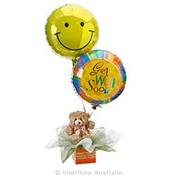 GET WELL HUGS Teddy bear with helium baloons AUS 735