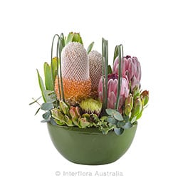 KIRRA Modern arrangemet of wild flowers in ceramic container AUS 817