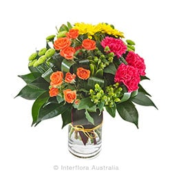 SASSY Bright grouped bouquet in a glass vase AUS 808