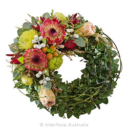 WITH SORROW Wreath of wild flowers suitable for service AUS 847
