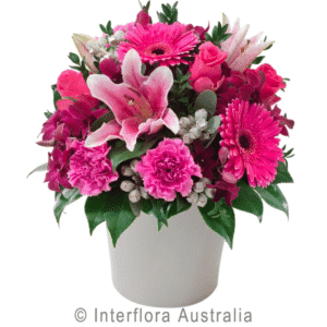 Berry Delight Mixed Flower Arrangment in Ceramic Container
